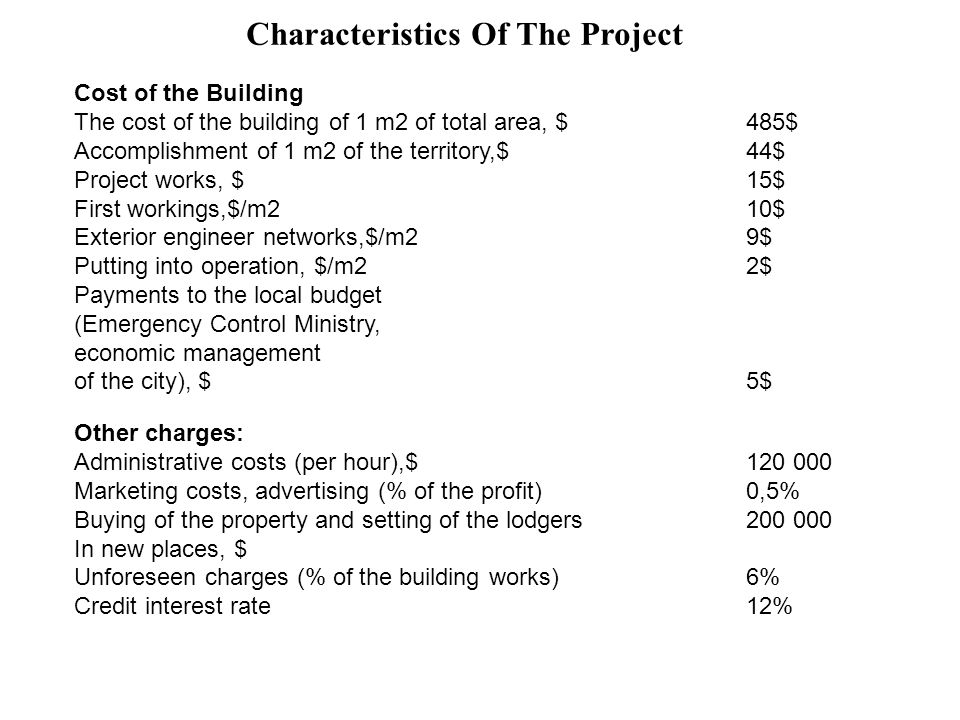 Characteristics Of The Project Cost of the Building The cost of the building of 1 m2 of total area, $485$ Accomplishment of 1 m2 of the territory,$44$