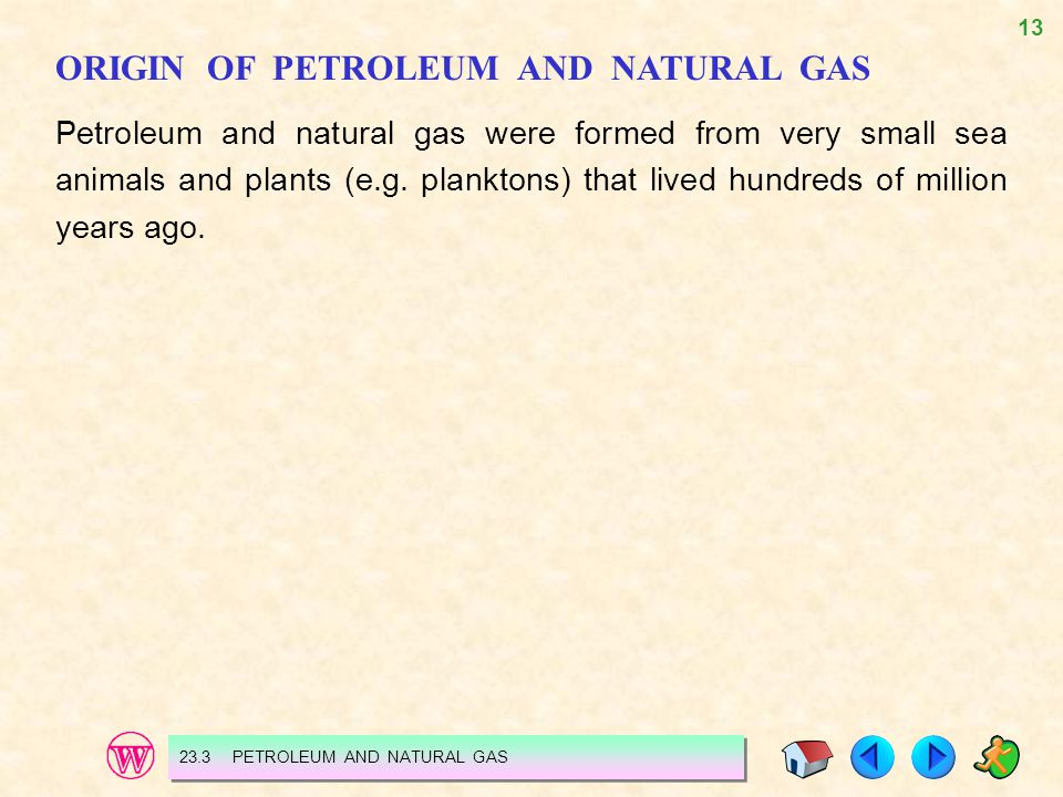 13 ORIGIN OF PETROLEUM AND NATURAL GAS Petroleum and natural gas were formed from very small sea animals and plants (e.g. planktons) that lived hundre