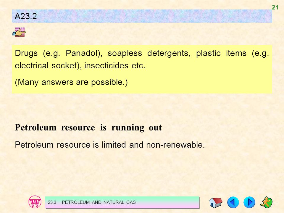 21 A23.2 Drugs (e.g. Panadol), soapless detergents, plastic items (e.g. electrical socket), insecticides etc. (Many answers are possible.) Petroleum r