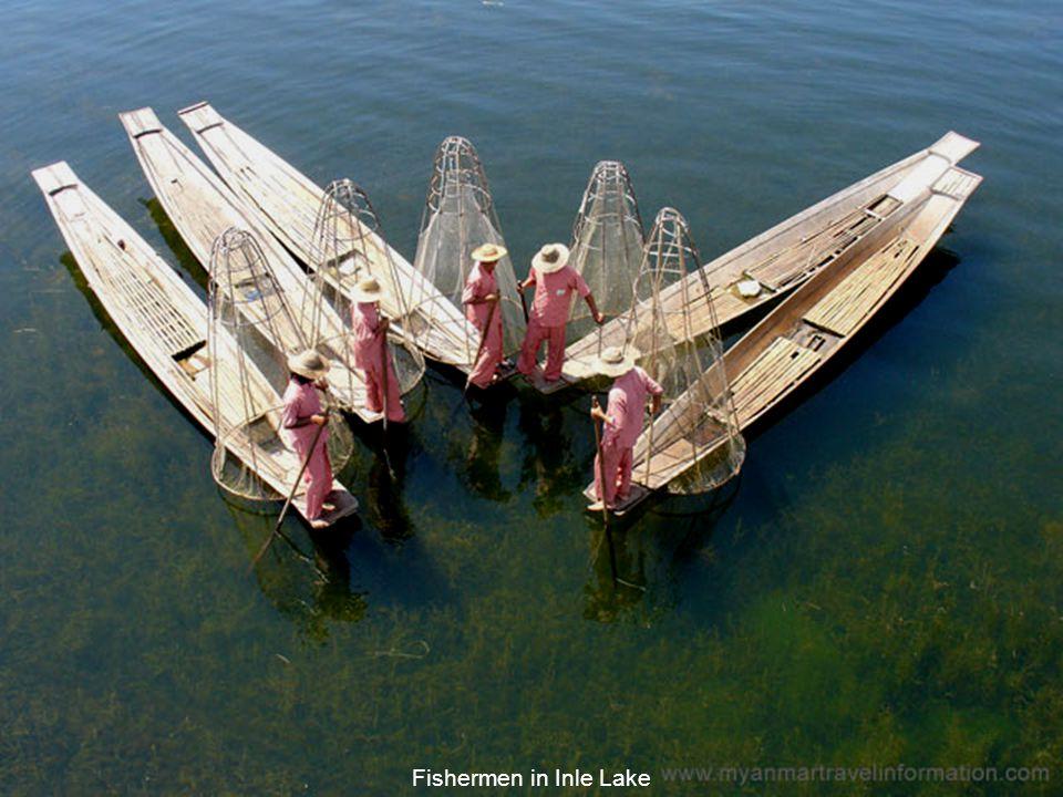 Pagodas along the banks of the Inle Lake