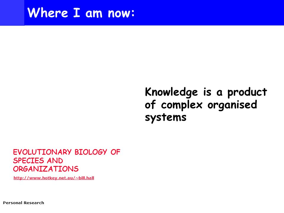 EVOLUTIONARY BIOLOGY OF SPECIES AND ORGANIZATIONS http://www.hotkey.net.au/~bill.hall Personal Research Where I am now: Knowledge is a product of complex organised systems
