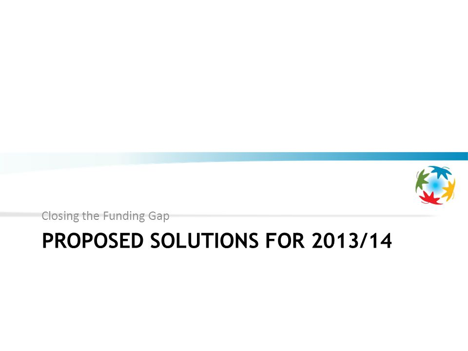 PROPOSED SOLUTIONS FOR 2013/14 Closing the Funding Gap