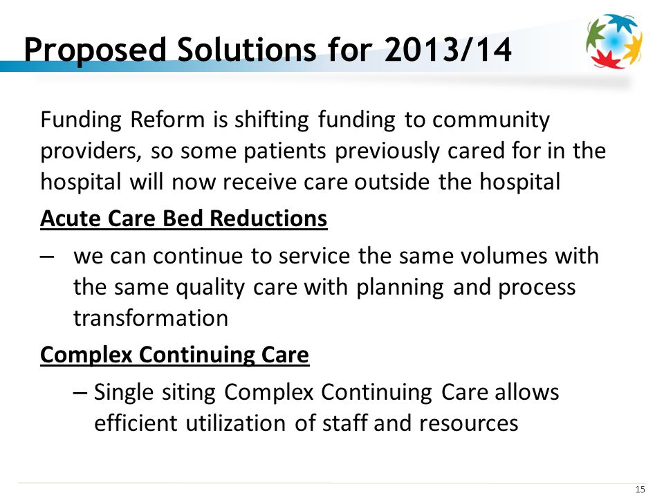 15 Proposed Solutions for 2013/14 Funding Reform is shifting funding to community providers, so some patients previously cared for in the hospital will now receive care outside the hospital Acute Care Bed Reductions – we can continue to service the same volumes with the same quality care with planning and process transformation Complex Continuing Care – Single siting Complex Continuing Care allows efficient utilization of staff and resources