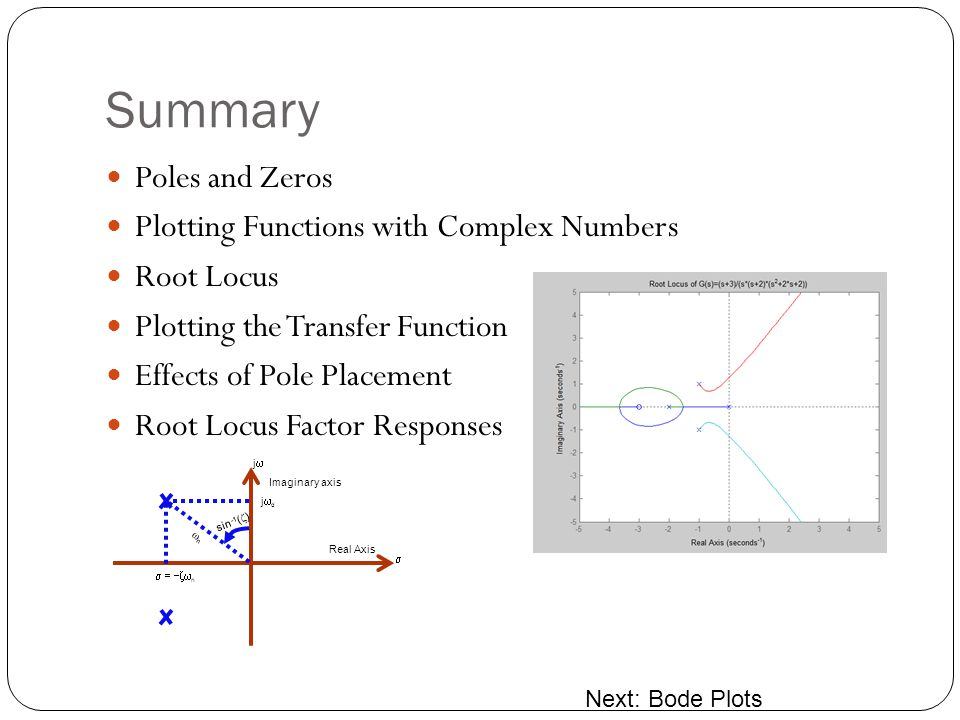 Summary Poles and Zeros Plotting Functions with Complex Numbers Root Locus Plotting the Transfer Function Effects of Pole Placement Root Locus Factor Responses Next: Bode Plots Imaginary axis Real Axis j j d n n sin -1 ( )