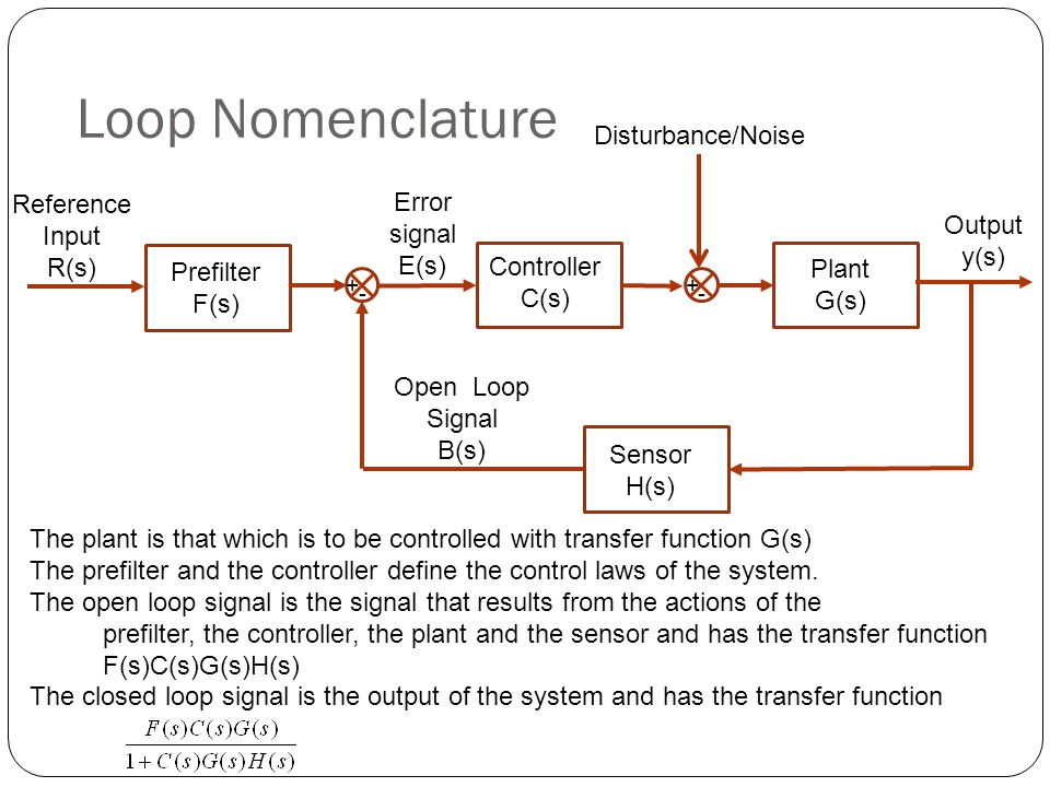 Loop Nomenclature Reference Input R(s) + - Output y(s) Error signal E(s) Open Loop Signal B(s) Plant G(s) Sensor H(s) Prefilter F(s) Controller C(s) + - Disturbance/Noise The plant is that which is to be controlled with transfer function G(s) The prefilter and the controller define the control laws of the system.