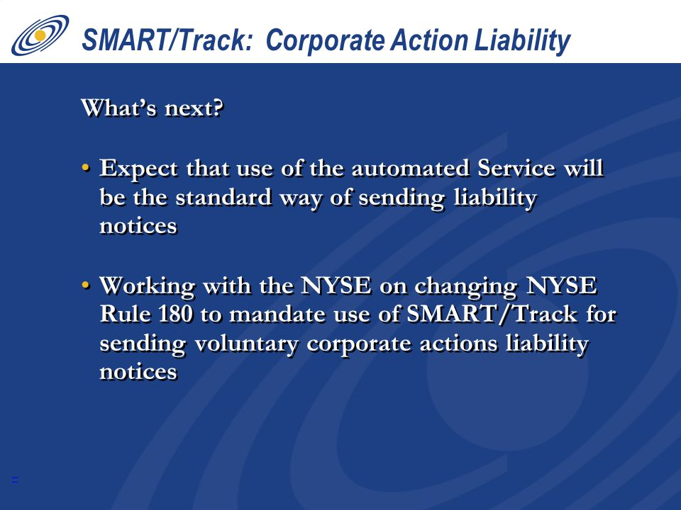 11 SMART/Track: Corporate Action Liability Whats next.