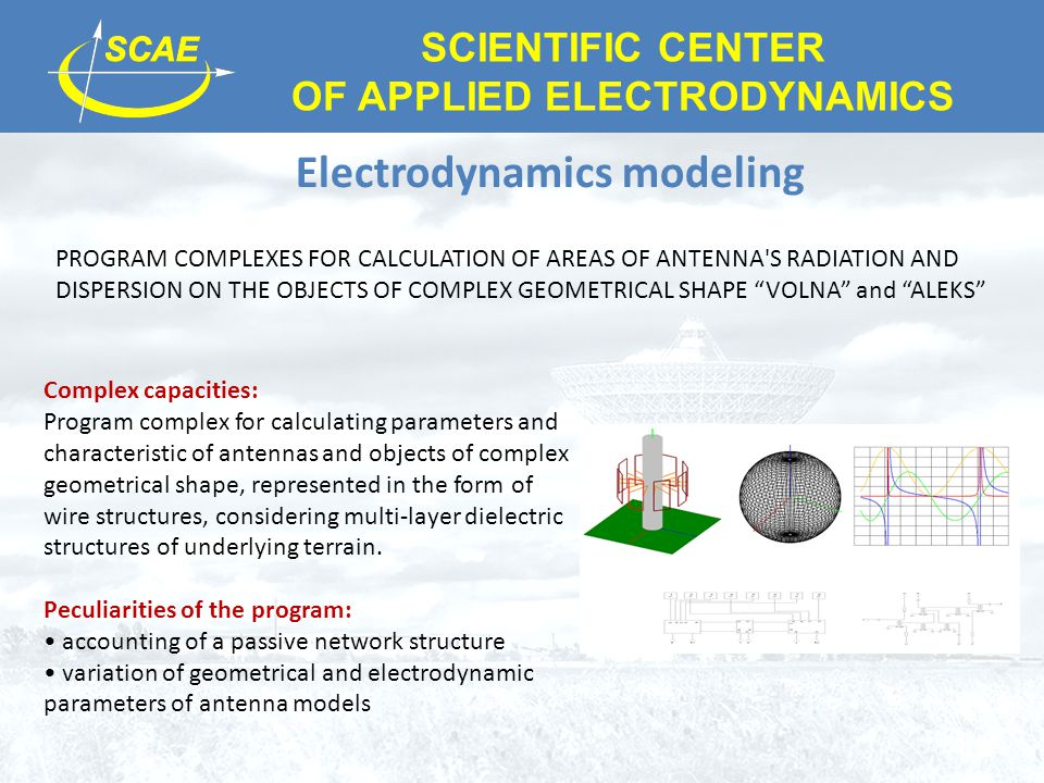 SCIENTIFIC CENTER OF APPLIED ELECTRODYNAMICS Electrodynamics modeling PROGRAM COMPLEXES FOR CALCULATION OF AREAS OF ANTENNA'S RADIATION AND DISPERSION