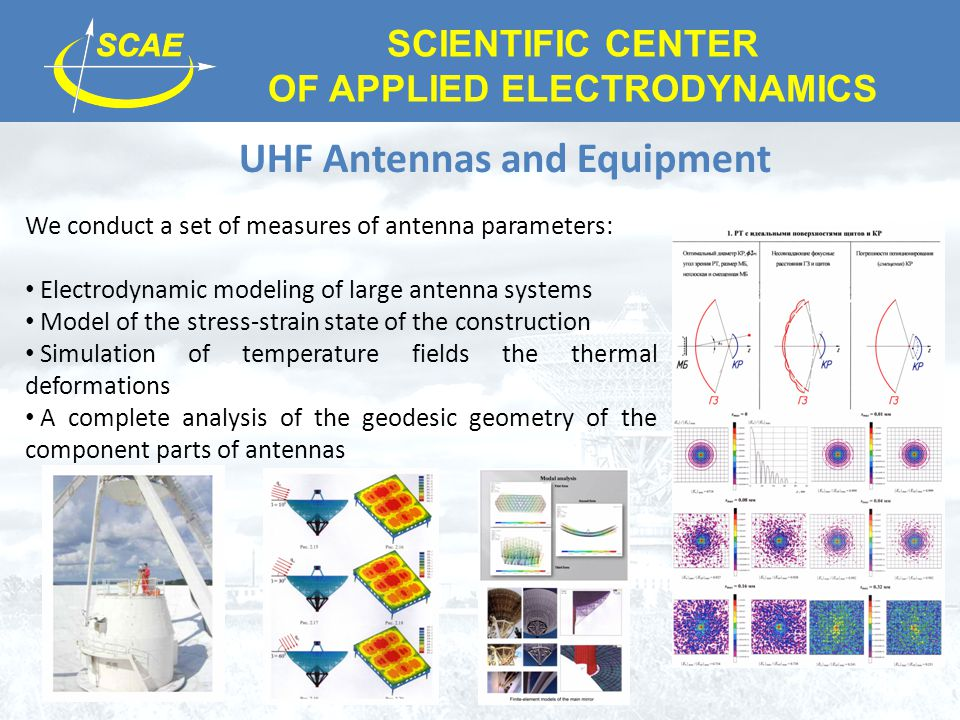 SCIENTIFIC CENTER OF APPLIED ELECTRODYNAMICS UHF Antennas and Equipment We conduct a set of measures of antenna parameters: Electrodynamic modeling of