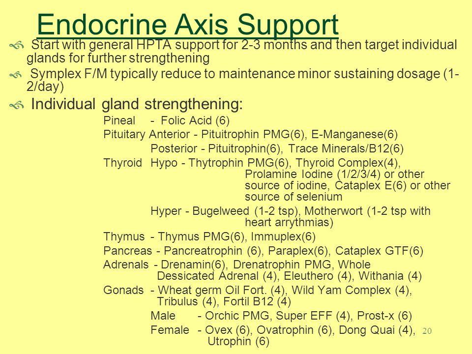19 Endocrine Axis Support Symplex F/M: Pituitrophin PMG Thytrophin PMG Drenatrophin PMG Orchic PMG Hypthalmex: Hypothalamus cytosol extract Hypothalmus: Hypothalamus PMG Black Currant Seed Oil: Omega 6 fatty acids (19 times more Gamma Linoleic Acid) Folic Acid/B12: Folic Acid support and detox support, DNA/RNA transciption