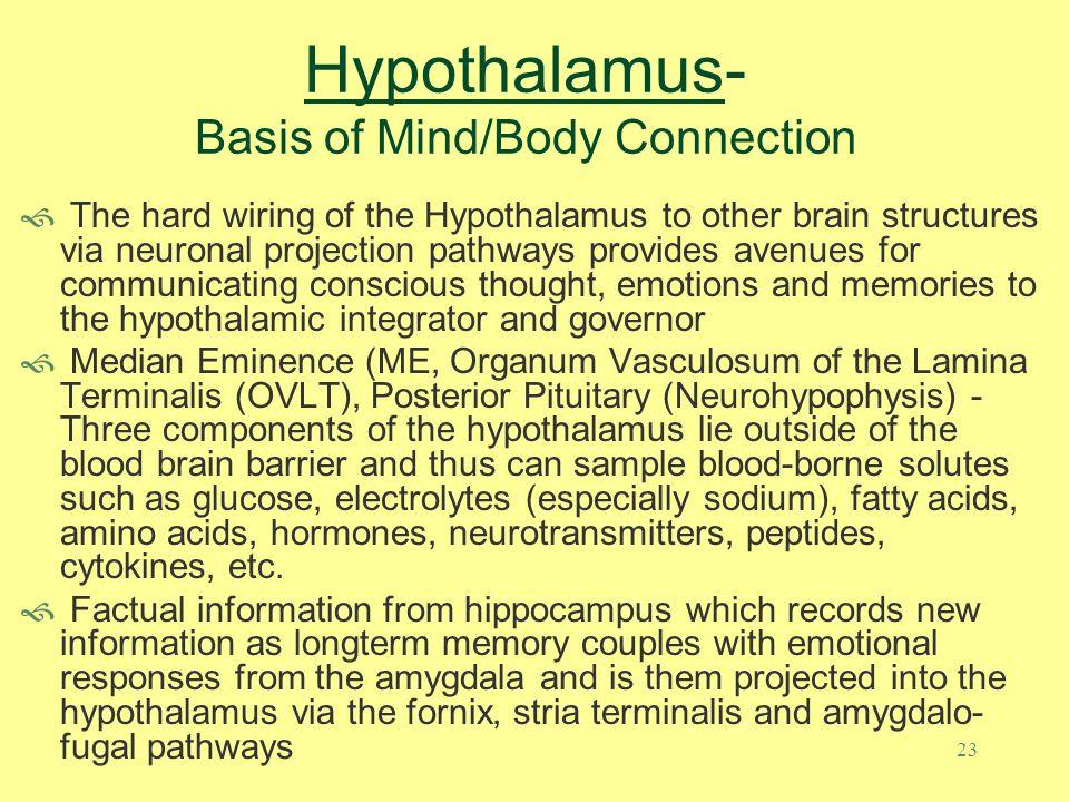 Hypothalamus Nervous SystemImmune System Biochemistry Memory / Emotional Neurotransmitter abundance Sympathetic/Parasympatheti c status Hippocampus -