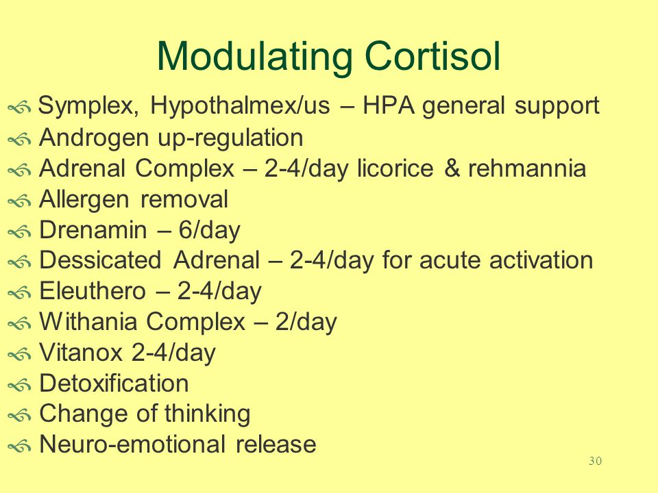 29 Modulating Cortisol Adrenal Complex (1-2) has exploded on the scene and represents another MediHerb homerun Introduced in 02/09 it has backordered multiple times as Americans have grasped its value as an idea whose time has come Licorice (250 mg of 7:1 extract) contains 25 mg of glycyrrhizin the active component that assists cortisone (a less active storage form of cortisol) to convert to cortisol (more active form) Rehmannia (150 mg of 5:1 extract) provides immune modulation Expect modulation in WHR, concentration, sleep quality, reduced muscle tension, relaxability, reduced anxiety Contraindicated when hypertension results