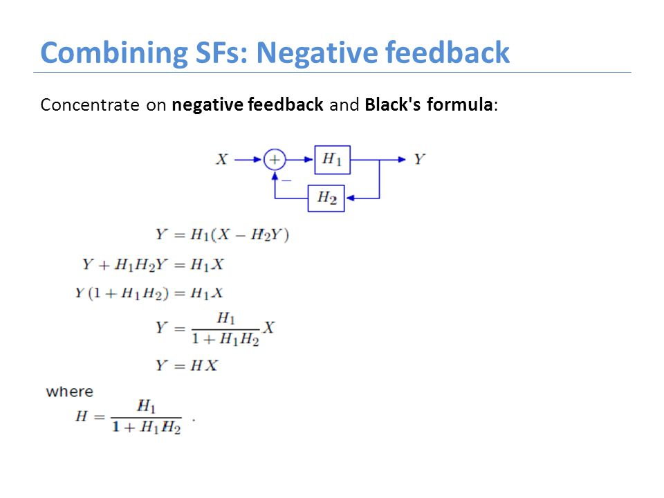 Combining SFs: Negative feedback Concentrate on negative feedback and Black's formula: