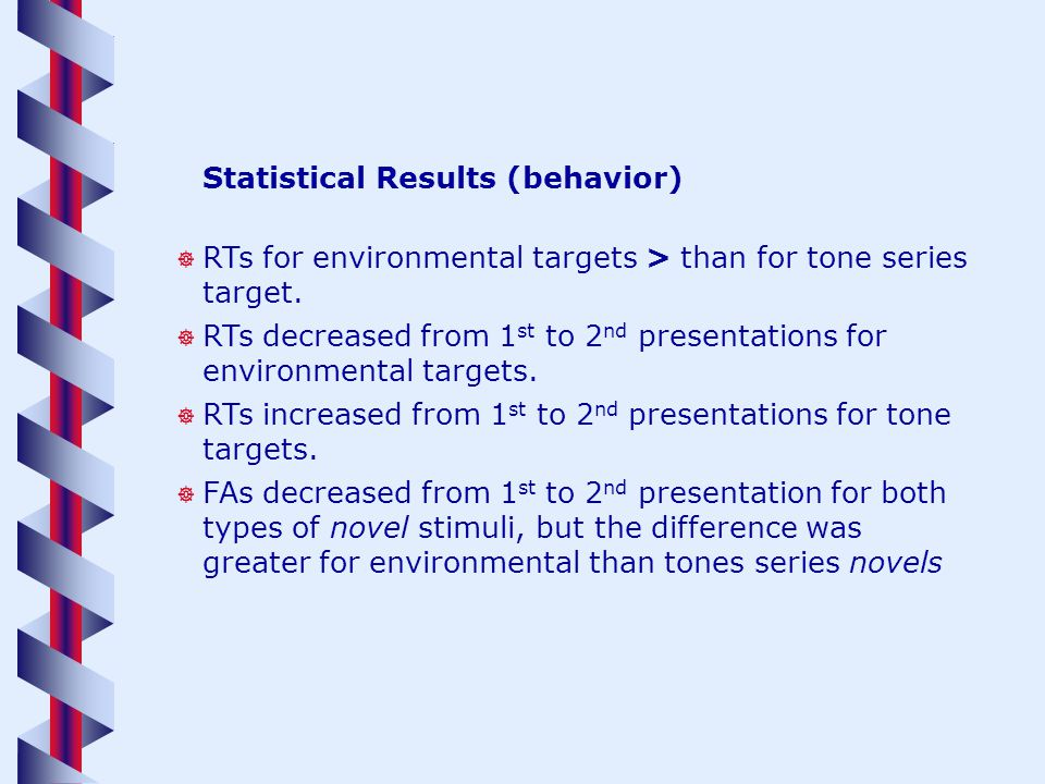 Statistical Results (behavior) RTs for environmental targets > than for tone series target.