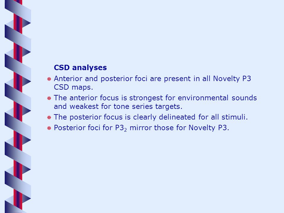 CSD analyses Anterior and posterior foci are present in all Novelty P3 CSD maps. The anterior focus is strongest for environmental sounds and weakest