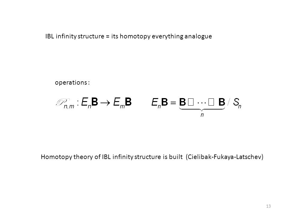 IBL infinity structure = its homotopy everything analogue operations : Homotopy theory of IBL infinity structure is built (Cielibak-Fukaya-Latschev) 1