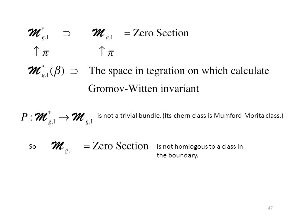 47 is not a trivial bundle. (Its chern class is Mumford-Morita class.) Sois not homlogous to a class in the boundary.