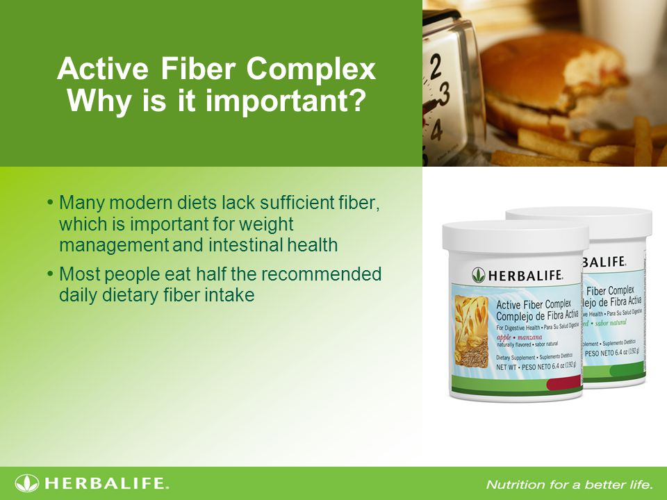 Active Fiber Complex Herbalife Unique Solution Contains both soluble and insoluble fibers to minimize bloating Enhances Formula 1 shake with great health benefits while adding a feel fuller benefit and a thicker consistency
