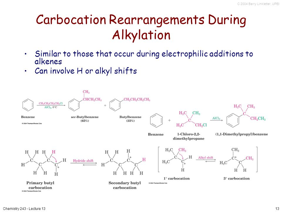 C 2004 Barry Linkletter, UPEI Chemistry 243 - Lecture 1313 Carbocation Rearrangements During Alkylation Similar to those that occur during electrophilic additions to alkenes Can involve H or alkyl shifts