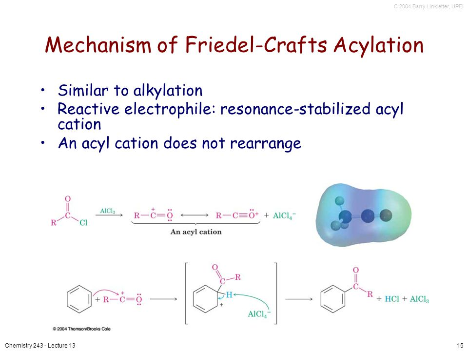 C 2004 Barry Linkletter, UPEI Chemistry 243 - Lecture 1315 Mechanism of Friedel-Crafts Acylation Similar to alkylation Reactive electrophile: resonance-stabilized acyl cation An acyl cation does not rearrange