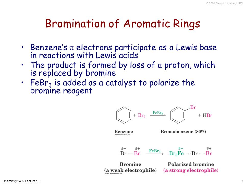 C 2004 Barry Linkletter, UPEI Chemistry 243 - Lecture 133 Bromination of Aromatic Rings Benzenes electrons participate as a Lewis base in reactions with Lewis acids The product is formed by loss of a proton, which is replaced by bromine FeBr 3 is added as a catalyst to polarize the bromine reagent