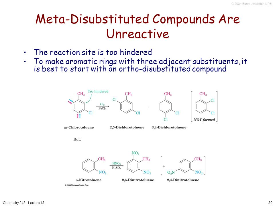 C 2004 Barry Linkletter, UPEI Chemistry 243 - Lecture 1330 Meta-Disubstituted Compounds Are Unreactive The reaction site is too hindered To make aromatic rings with three adjacent substituents, it is best to start with an ortho-disubstituted compound