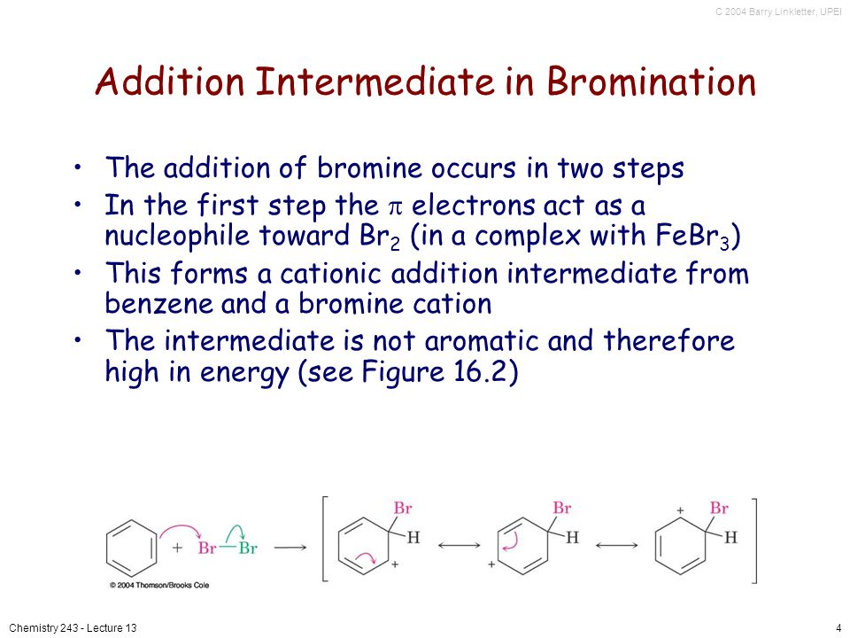 C 2004 Barry Linkletter, UPEI Chemistry 243 - Lecture 134 Addition Intermediate in Bromination The addition of bromine occurs in two steps In the first step the electrons act as a nucleophile toward Br 2 (in a complex with FeBr 3 ) This forms a cationic addition intermediate from benzene and a bromine cation The intermediate is not aromatic and therefore high in energy (see Figure 16.2)