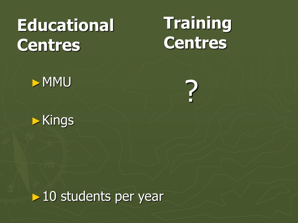 Educational Centres MMU Kings 10 students per year Training Centres