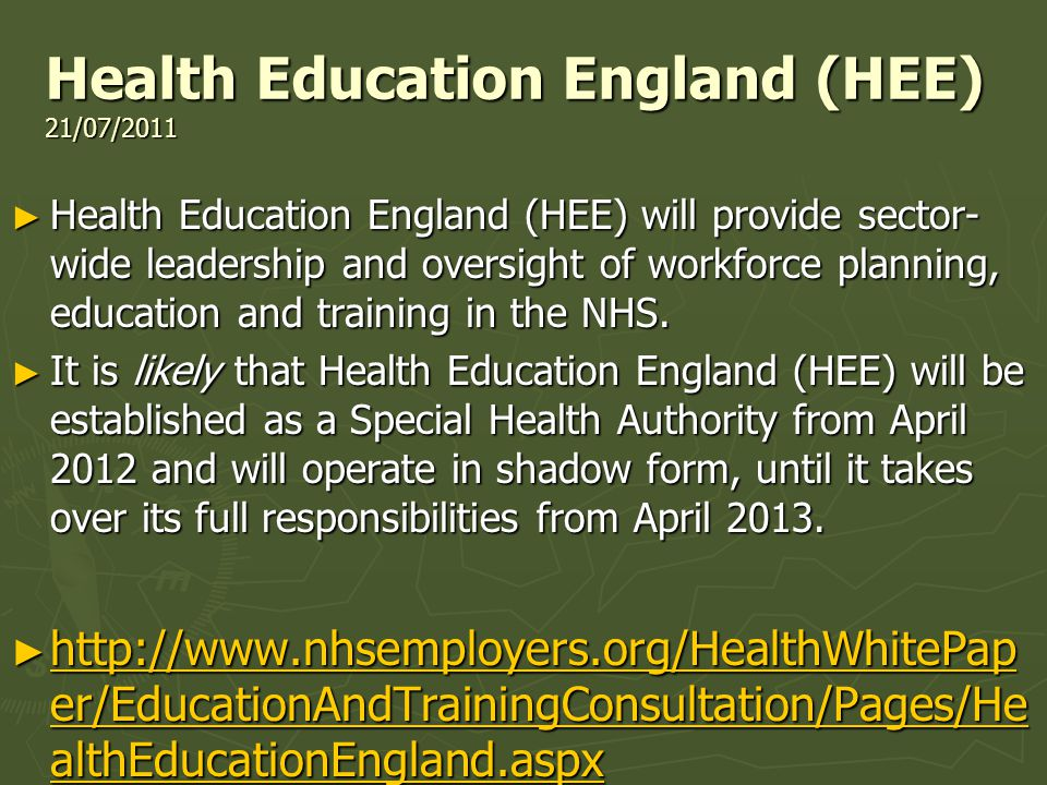Health Education England (HEE) 21/07/2011 Health Education England (HEE) 21/07/2011 Health Education England (HEE) will provide sector- wide leadership and oversight of workforce planning, education and training in the NHS.