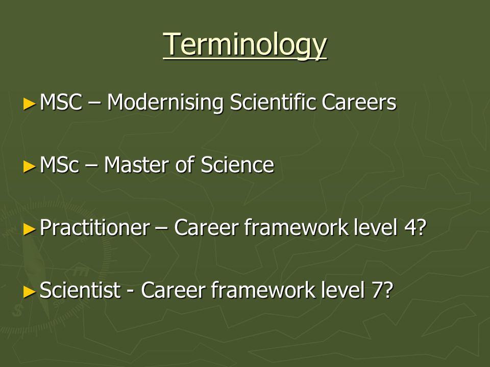 Terminology MSC – Modernising Scientific Careers MSC – Modernising Scientific Careers MSc – Master of Science MSc – Master of Science Practitioner – Career framework level 4.