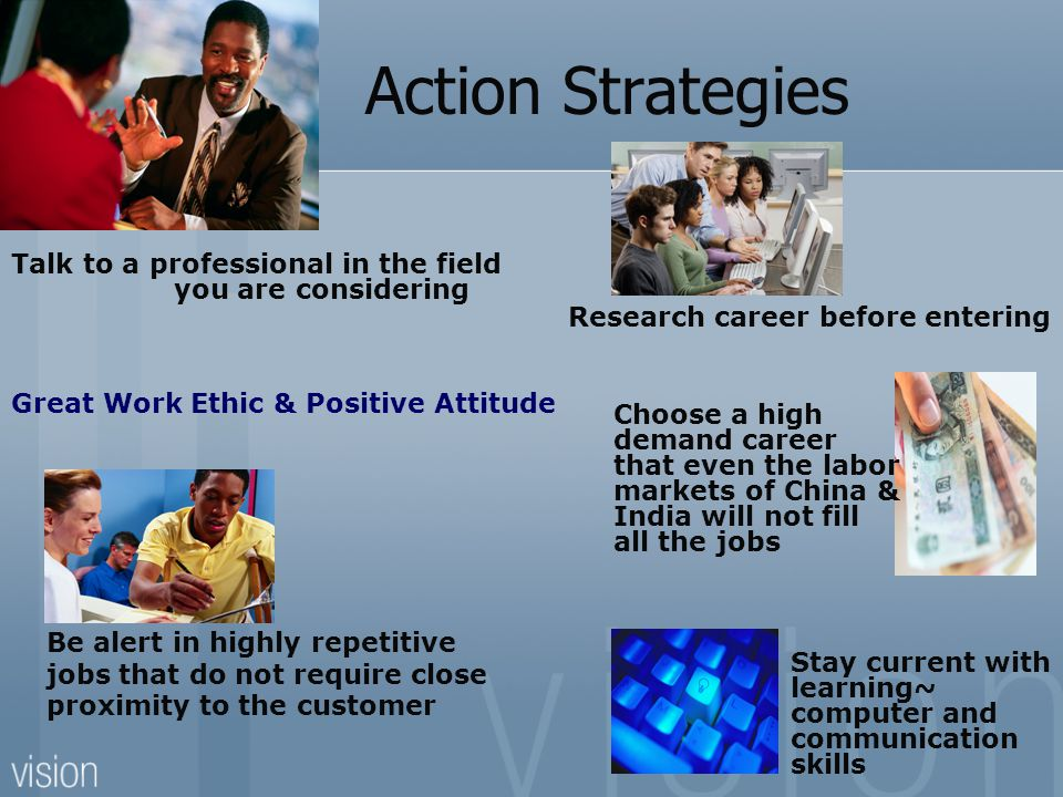 Action Strategies Research career before entering Talk to a professional in the field you are considering Choose a high demand career that even the labor markets of China & India will not fill all the jobs Stay current with learning~ computer and communication skills Great Work Ethic & Positive Attitude Be alert in highly repetitive jobs that do not require close proximity to the customer