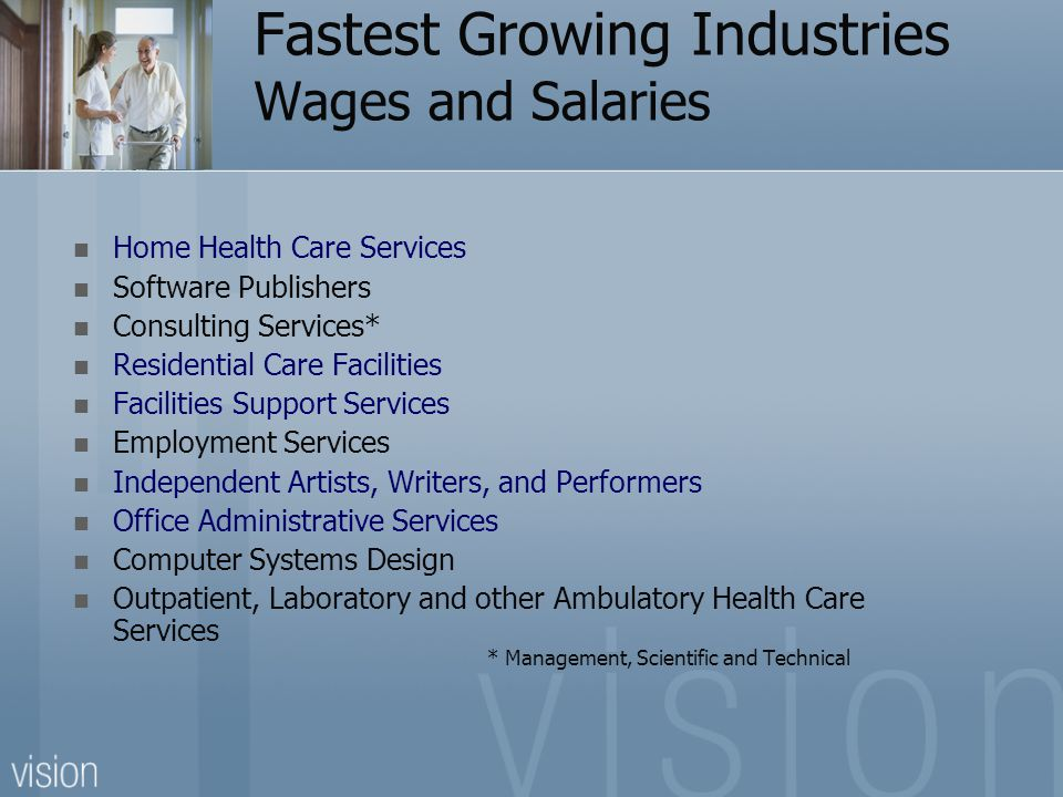 Fastest Growing Industries Wages and Salaries Home Health Care Services Software Publishers Consulting Services* Residential Care Facilities Facilities Support Services Employment Services Independent Artists, Writers, and Performers Office Administrative Services Computer Systems Design Outpatient, Laboratory and other Ambulatory Health Care Services * Management, Scientific and Technical