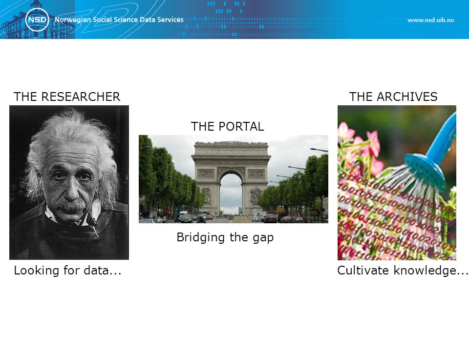 THE RESEARCHER Looking for data...Cultivate knowledge... THE ARCHIVES THE PORTAL Bridging the gap