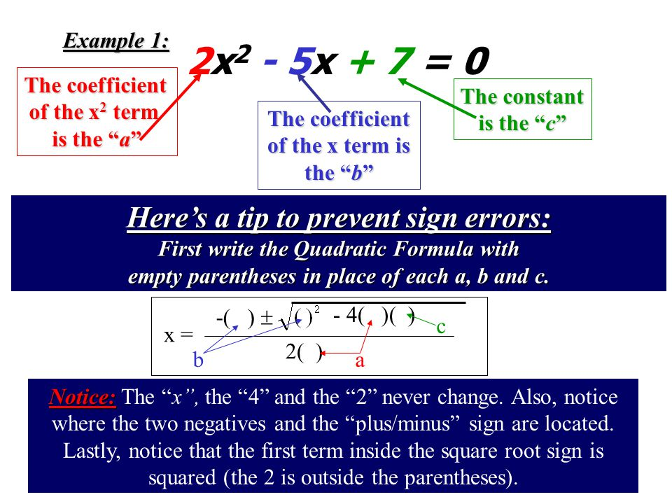 I. When to use the Quadratic Formula I. When to use the Quadratic Formula: When factoring any equation that is in Quadratic Form When factoring any eq