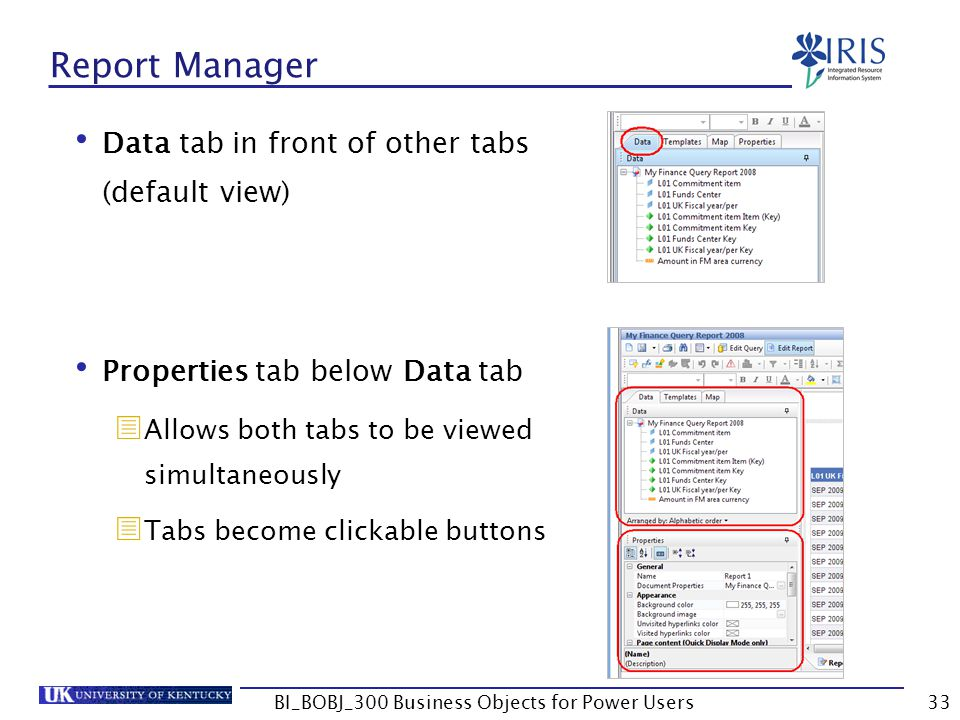 33 Report Manager Data tab in front of other tabs (default view) Properties tab below Data tab Allows both tabs to be viewed simultaneously Tabs becom