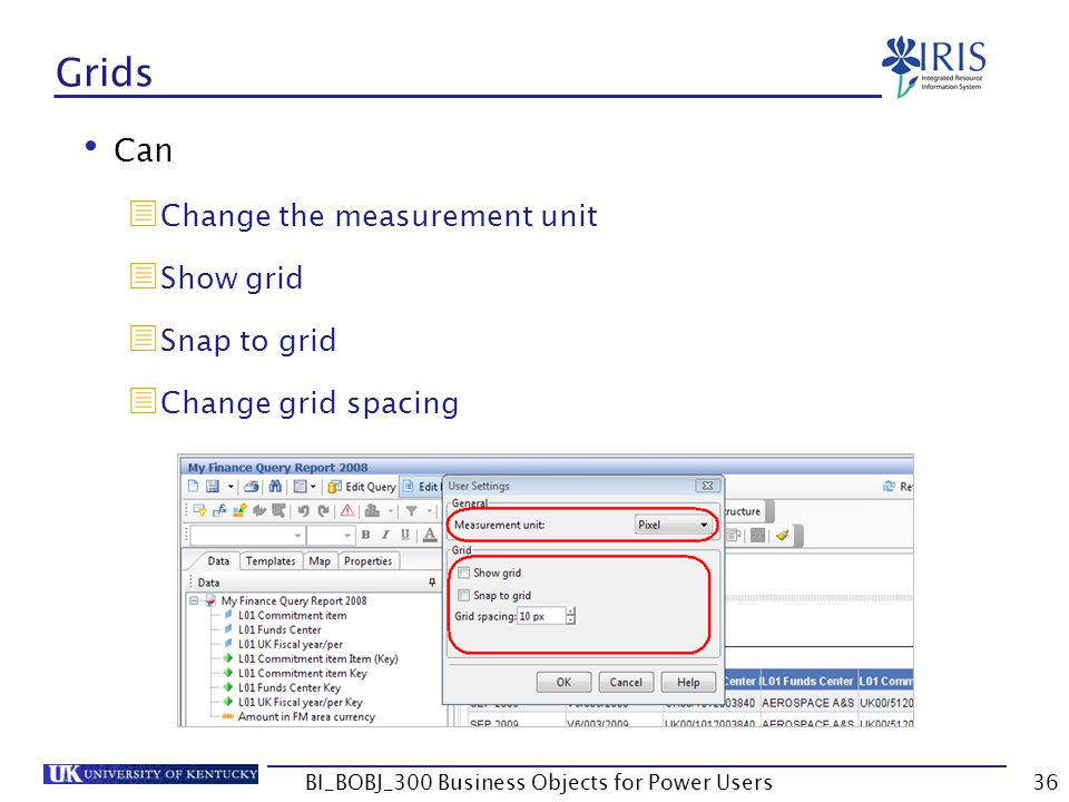 36 Grids Can Change the measurement unit Show grid Snap to grid Change grid spacing BI_BOBJ_300 Business Objects for Power Users