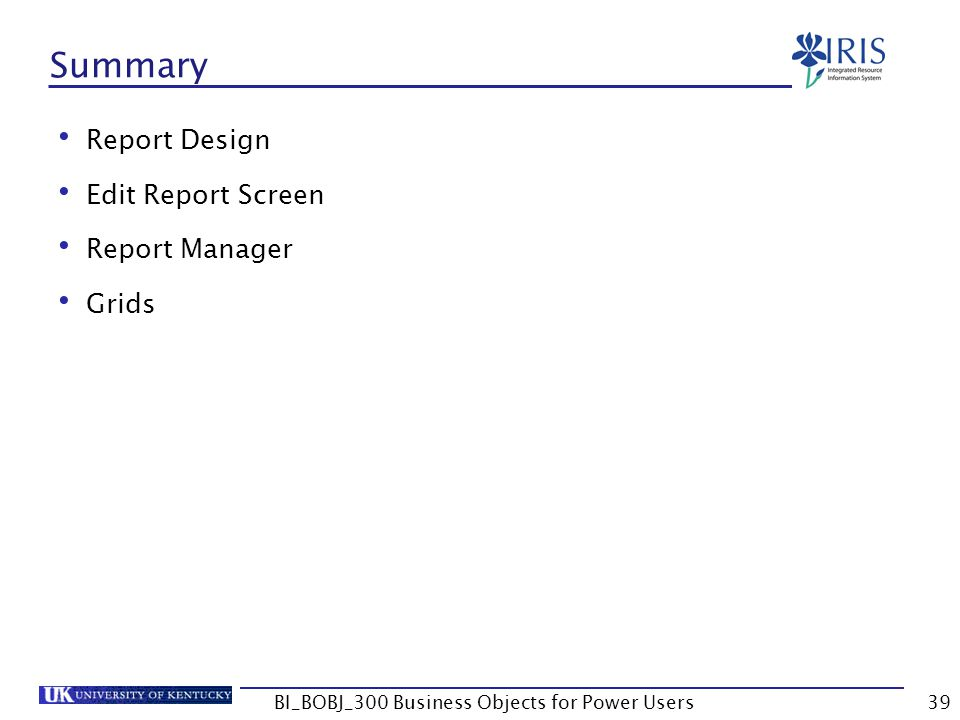39 Summary Report Design Edit Report Screen Report Manager Grids BI_BOBJ_300 Business Objects for Power Users