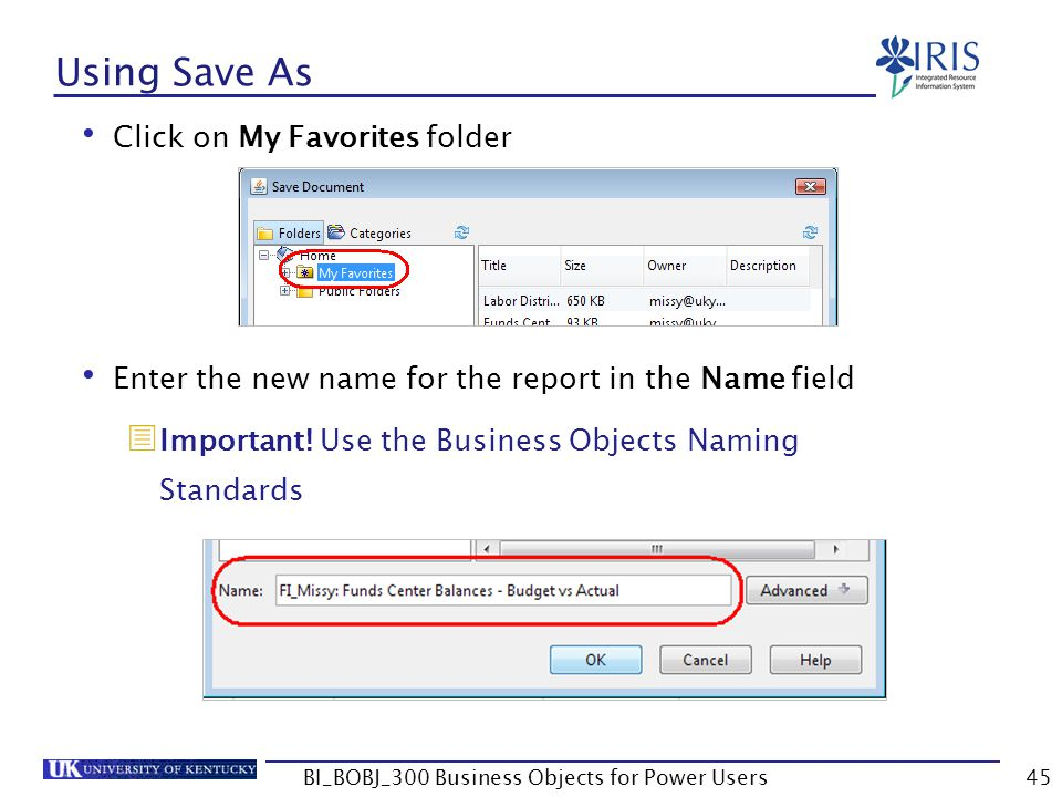 45 Using Save As Click on My Favorites folder Enter the new name for the report in the Name field Important! Use the Business Objects Naming Standards