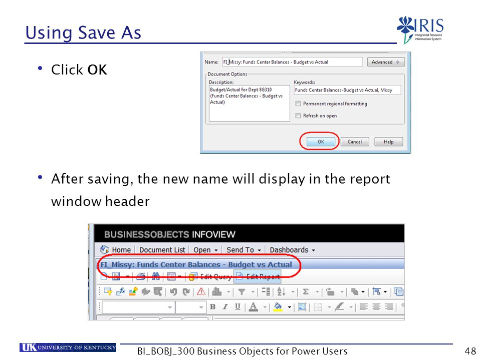48 Using Save As Click OK After saving, the new name will display in the report window header BI_BOBJ_300 Business Objects for Power Users