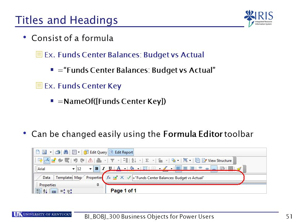 51 Titles and Headings Consist of a formula Ex. Funds Center Balances: Budget vs Actual =Funds Center Balances: Budget vs Actual Ex. Funds Center Key