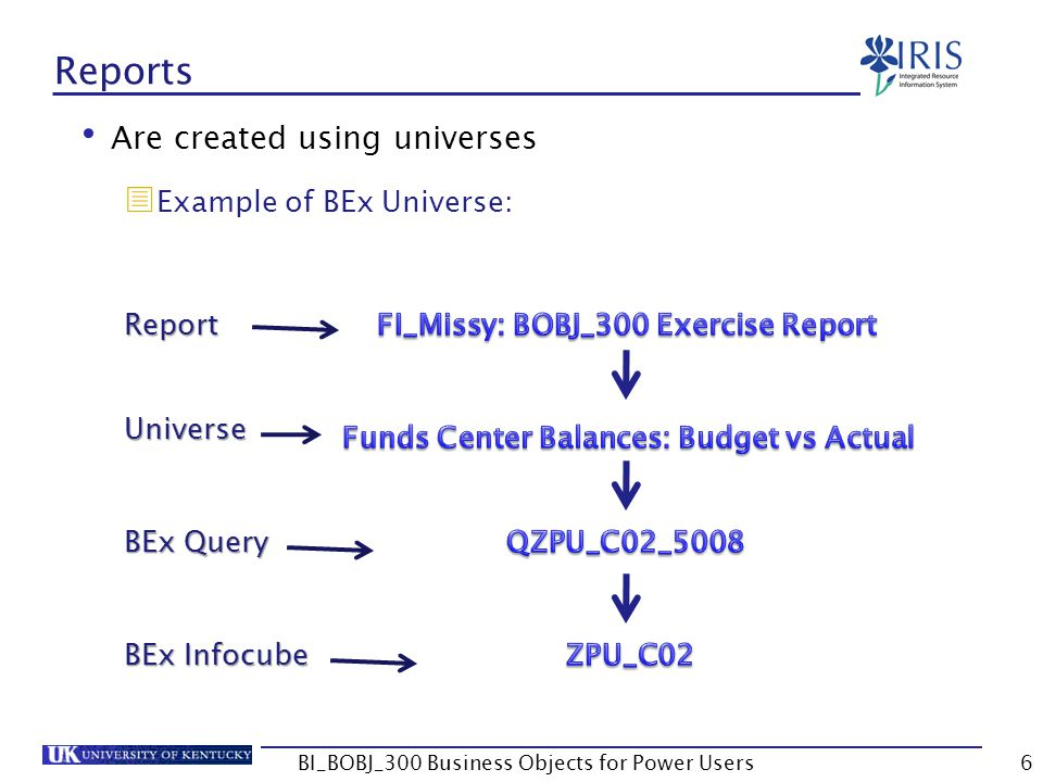 107 Unit 6 – Creating Queries Creating Queries Document Properties Report Property Options BI_BOBJ_300 Business Objects for Power Users