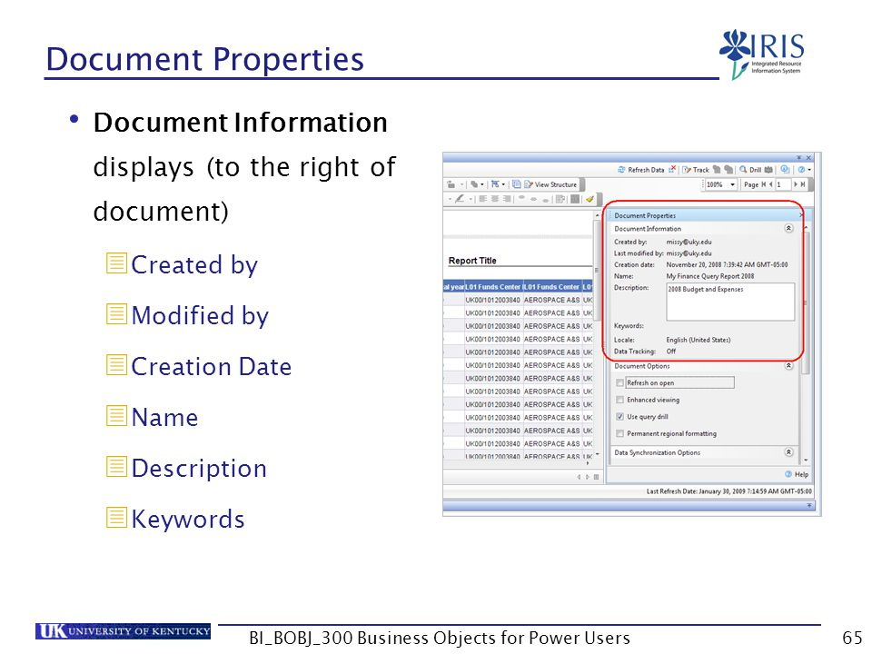 65 Document Properties Document Information displays (to the right of document) Created by Modified by Creation Date Name Description Keywords BI_BOBJ