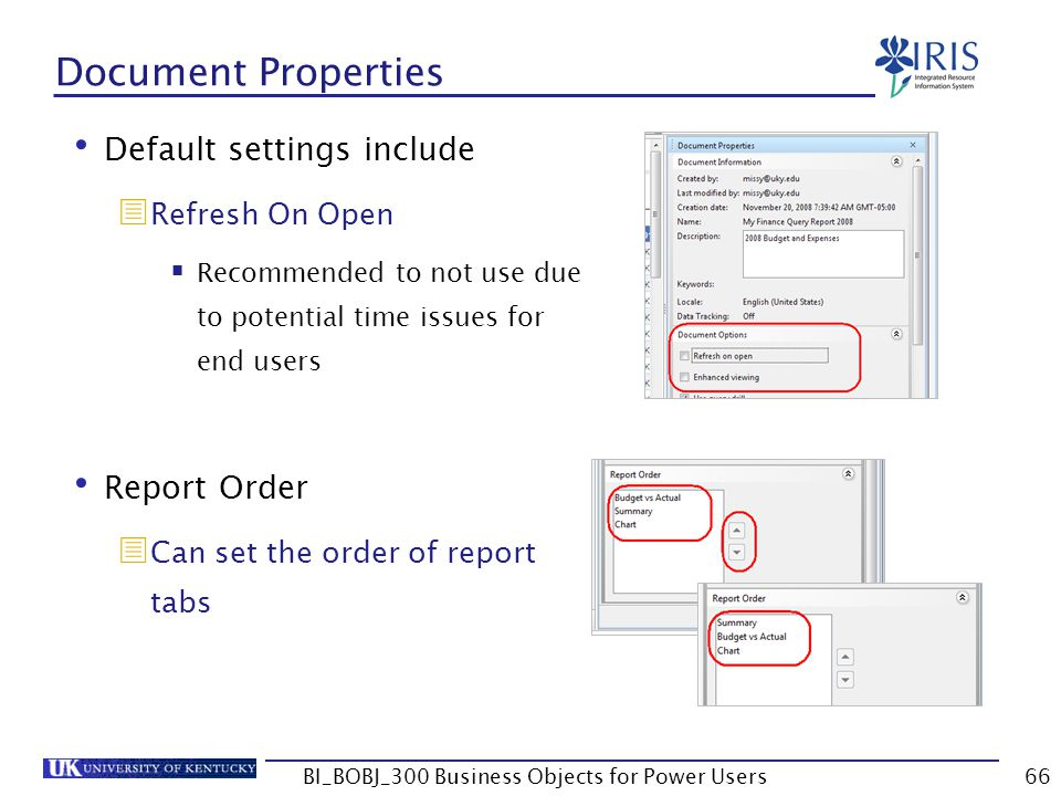 66 Document Properties Default settings include Refresh On Open Recommended to not use due to potential time issues for end users Report Order Can set