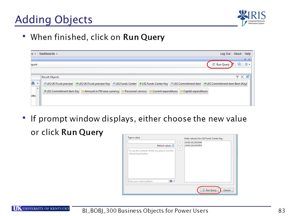83 Adding Objects When finished, click on Run Query If prompt window displays, either choose the new value or click Run Query BI_BOBJ_300 Business Obj