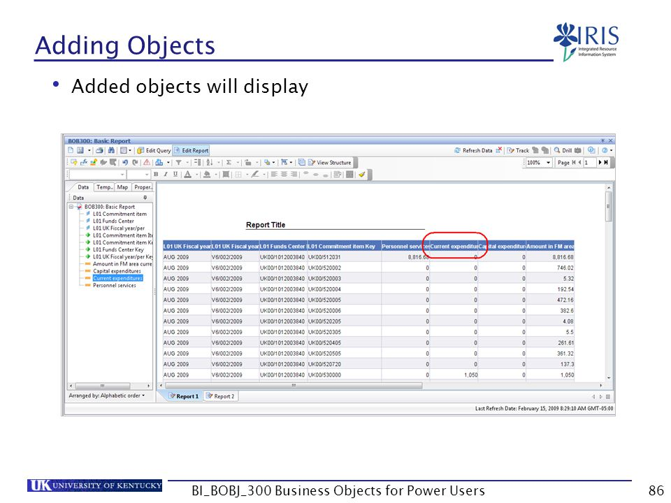 86 Adding Objects Added objects will display BI_BOBJ_300 Business Objects for Power Users