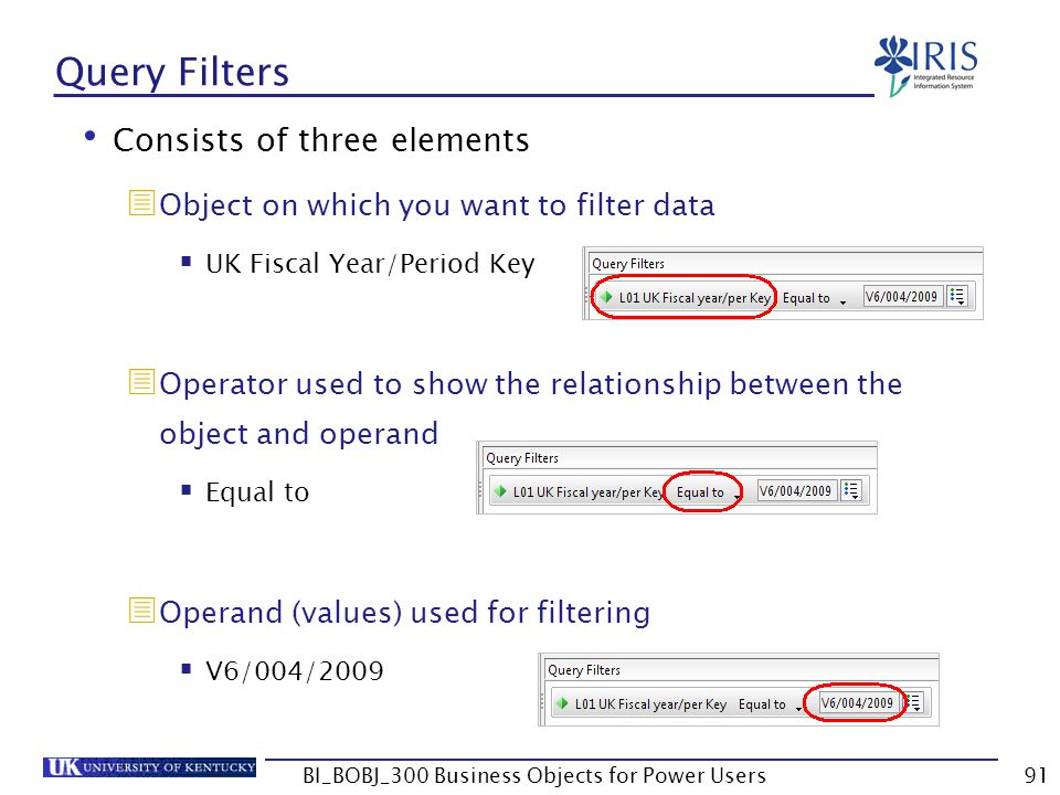 91 Query Filters Consists of three elements Object on which you want to filter data UK Fiscal Year/Period Key Operator used to show the relationship b