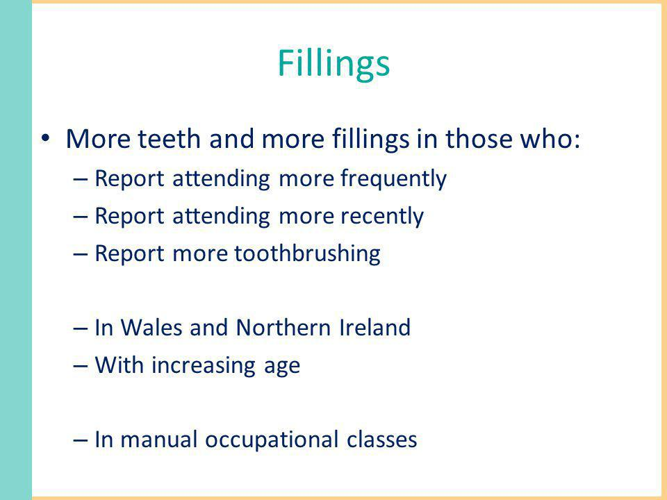 Fillings More teeth and more fillings in those who: – Report attending more frequently – Report attending more recently – Report more toothbrushing –