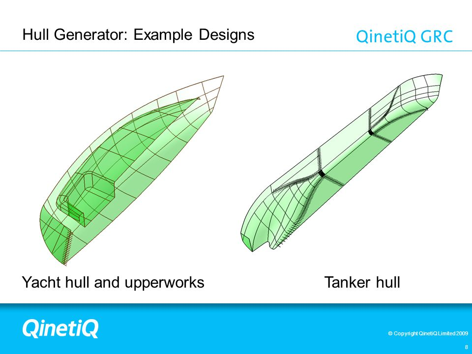 © Copyright QinetiQ Limited 2009 Hull Generator: Parametric Concept Design - Surface Ship Initial shape of a parametric hull