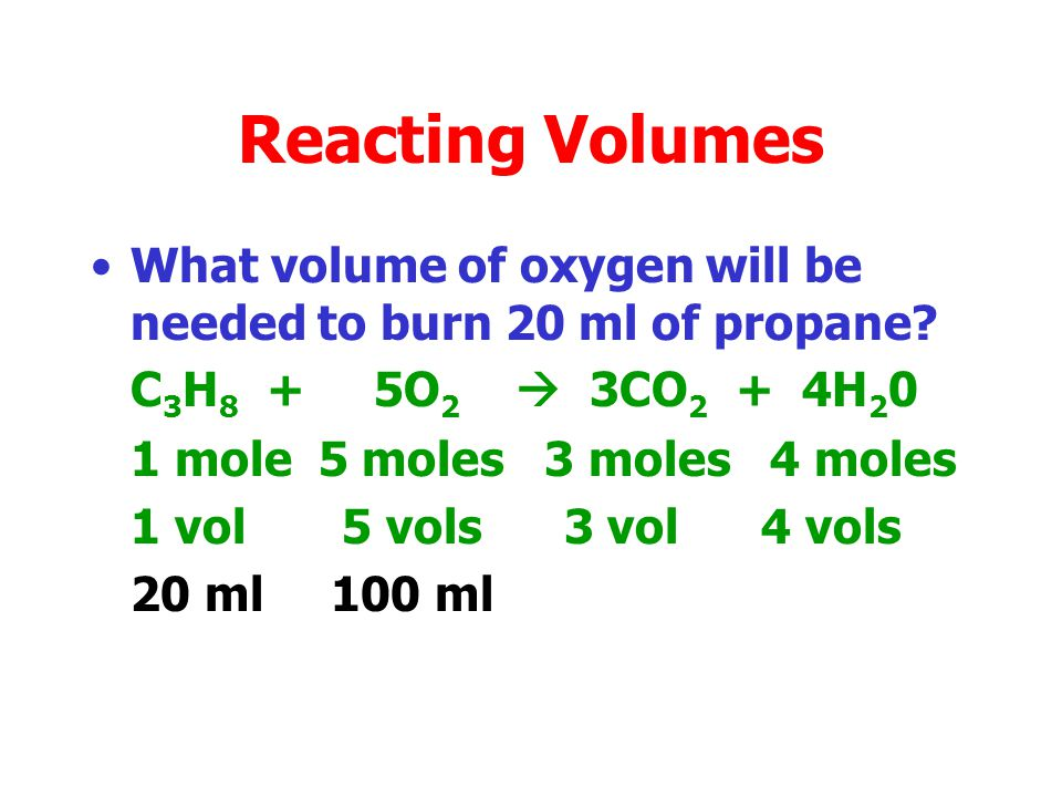 Reacting Volumes Since equal volumes of any gas contain equal numbers of molecules then we can relate mole numbers to molecules. CH 4 + 2O 2 CO 2 + 2H