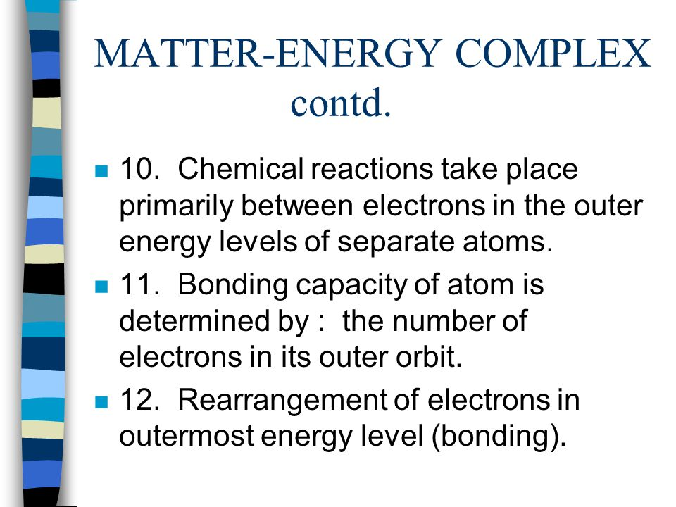 MATTER-ENERGY COMPLEX contd.n 5. Energy Levels (K, L, M, N, O, P, Q ) n 6.
