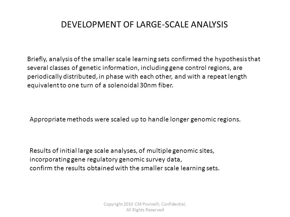 DEVELOPMENT OF LARGE-SCALE ANALYSIS Briefly, analysis of the smaller scale learning sets confirmed the hypothesis that several classes of genetic information, including gene control regions, are periodically distributed, in phase with each other, and with a repeat length equivalent to one turn of a solenoidal 30nm fiber.